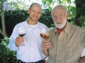 <b>Jason Lett shares a glass of wine with his father, the late David Lett, of The Eyre Vineyards.</b>